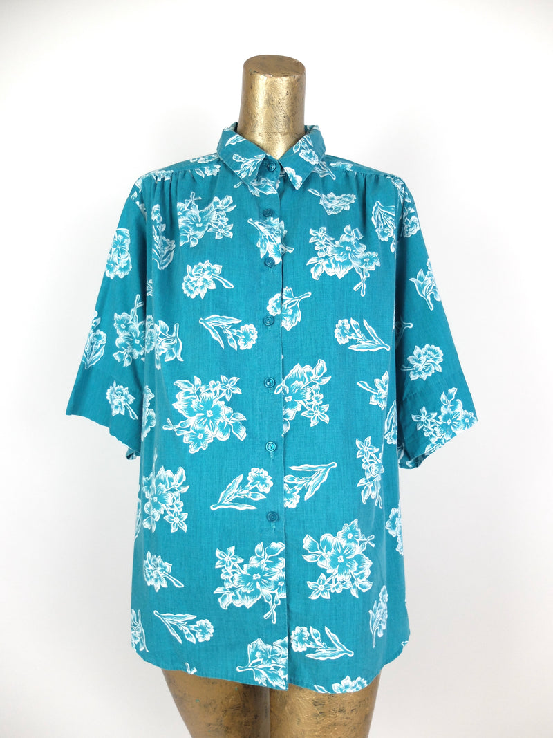 70s Tropical Hawaiian Floral Short Sleeve Collared Button Up Shirt