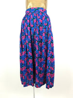 70s Bright Psychedelic Floral Festival Style High Waisted Flowy Circle Maxi Skirt