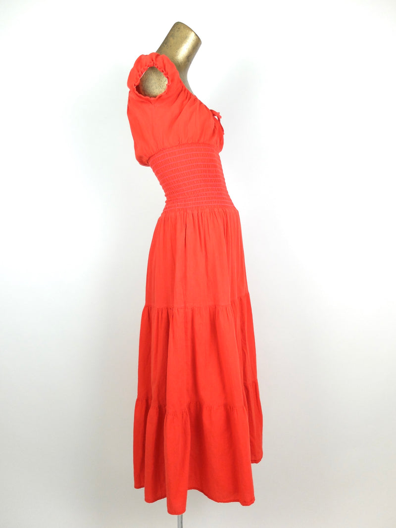 90s does 70s Milkmaid Prairie Coral Fit and Flare Puff Sleeve Linen Ruffled Maxi Dress