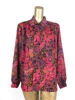 60s Mod Psychedelic Bright Pink Paisley Print Long Sleeve Collared Button Up Blouse