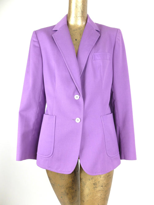 70s Electric Violet Purple Collared Button Down Blazer Jacket with Padded Shoulders