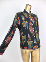 80s British Guard Baroque Patterned Collared Long Sleeve Button Up Shirt