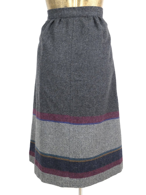 1980s does 50s Mod Wool High Waisted Fit and Flare Below-the-Knee Circle Midi Skirt