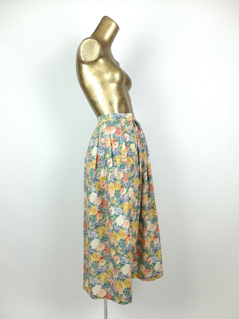 80s Romantic Floral High Waisted Full Maxi Circle Skirt