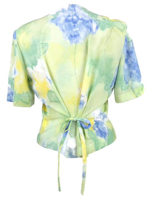 Vintage 80s Romantic Pastel Watercolour Short Sleeve Button Down Chiffon Blouse with Waist Tie