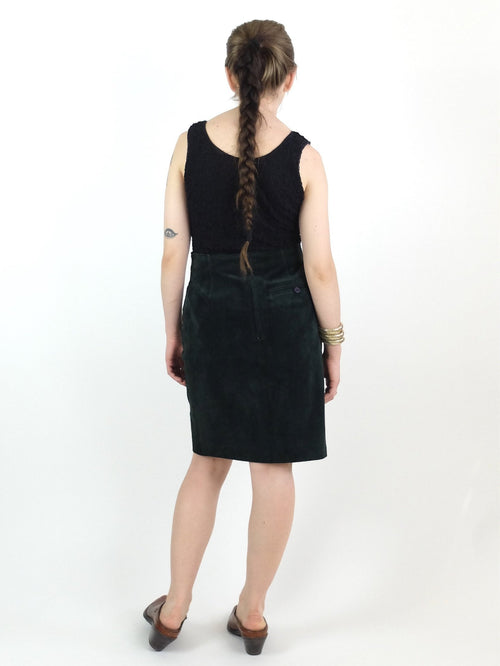 80s Wilsons Forest Green Suede Leather High Waisted Pencil Skirt