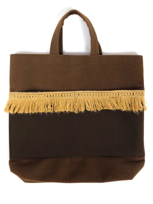 Vintage 70s Bohemian Hippie Fringed Brown Colourblock Top Handle Tote Bag Purse