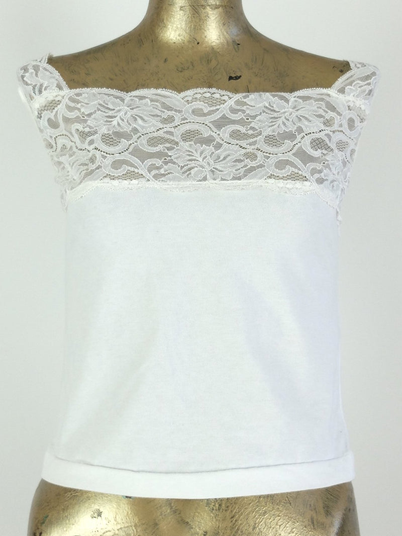 80s White Lace Square Neck Sleeveless Basic Tank Top