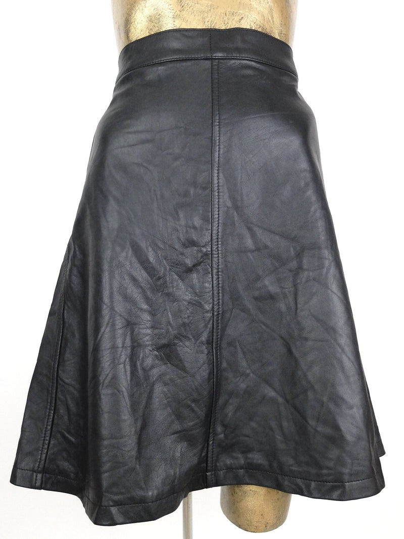 70s Glam Rock Punk Style Black Genuine Leather High Waisted A-Line Knee Length Skirt