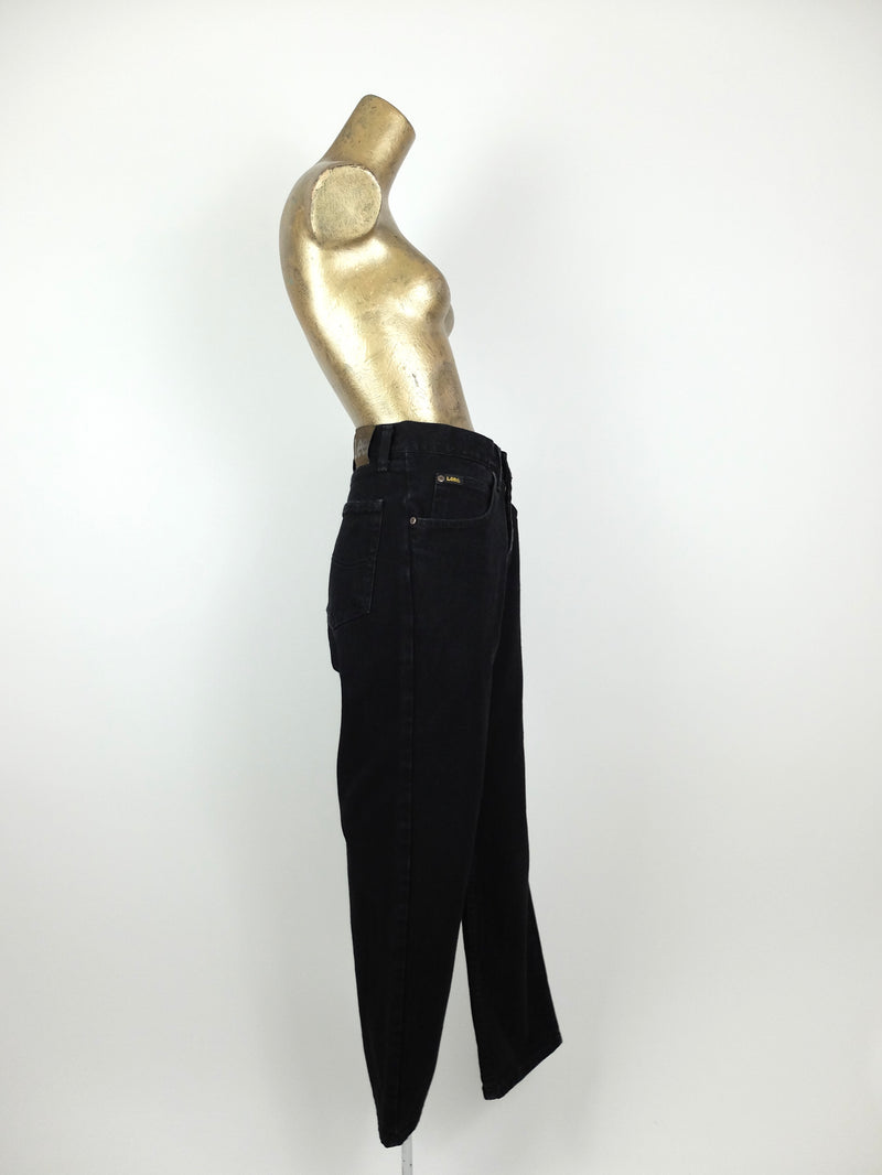 80s Lee High Waisted Black Straight Leg Relaxed Fit Dark Wash Denim Jeans