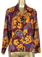 70s Burgundy Bohemian Paisley Floral Print Collared Button Up Long Sleeve Blouse