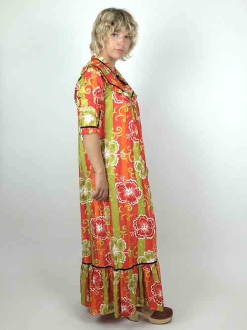 60s Mod Psychedelic Tropical Hawaiian Ruffled Half Sleeve Maxi Dress with Pockets