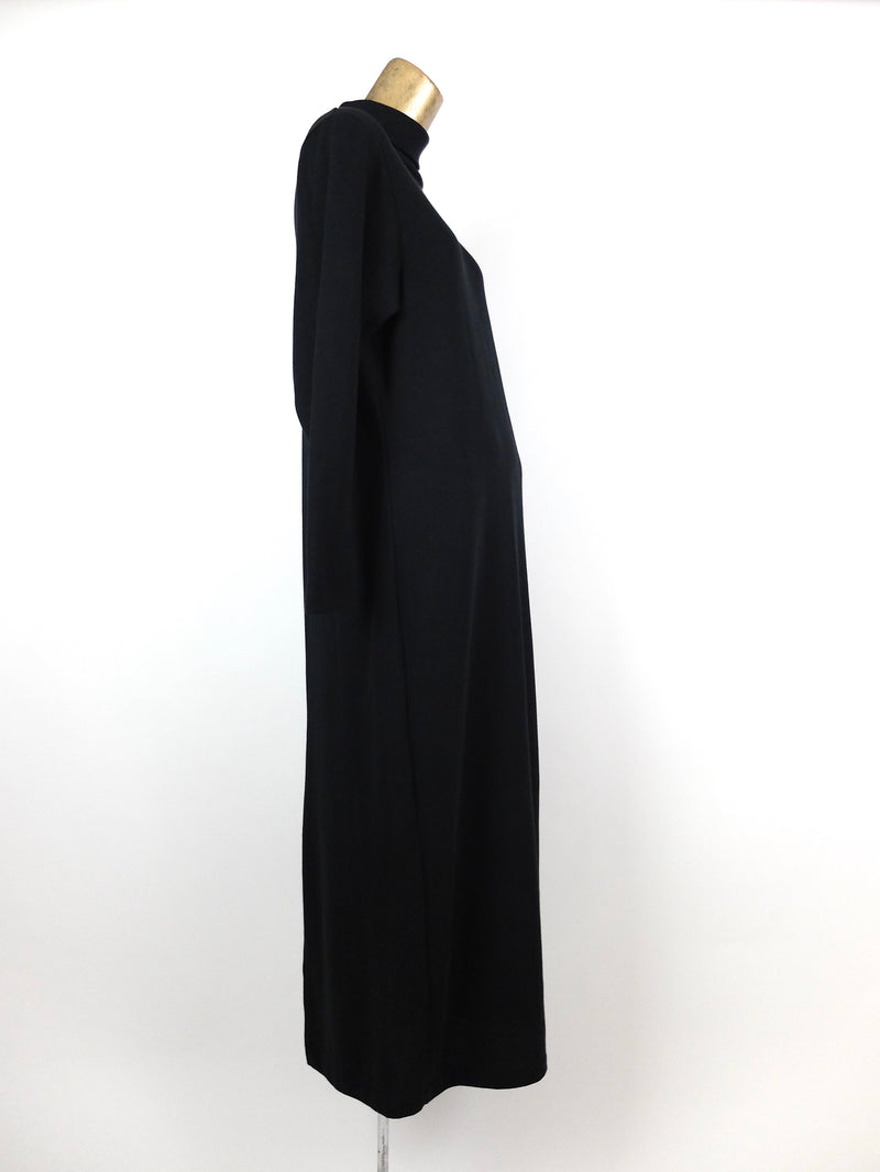 80s Black Knit Basic Structured Long Sleeve Turtleneck Winter Maxi Dress with Shoulder Pads