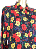 80s Bright Floral Collared Long Sleeve Button Up Shirt