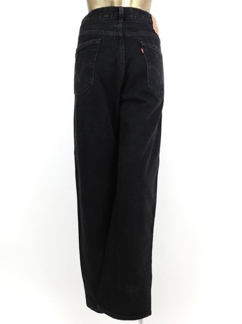 2000s Levi's 550 Relaxed Fit Black Denim High Waisted Straight Leg Jeans