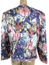 80s Floral Tapestry Beaded Open Blazer Jacket with Shoulder Pads