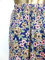 70s Romantic Floral Print High Waisted Maxi Skirt