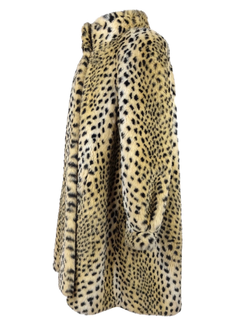 Vintage 80s Cheetah Print Faux Fur Collared Winter Duster Coat