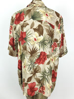 70s Tropical Hawaiian Floral Collared Half Sleeve Button Up Shirt