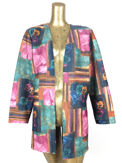 80s Abstract Floral Textured Thin Open Blazer Jacket