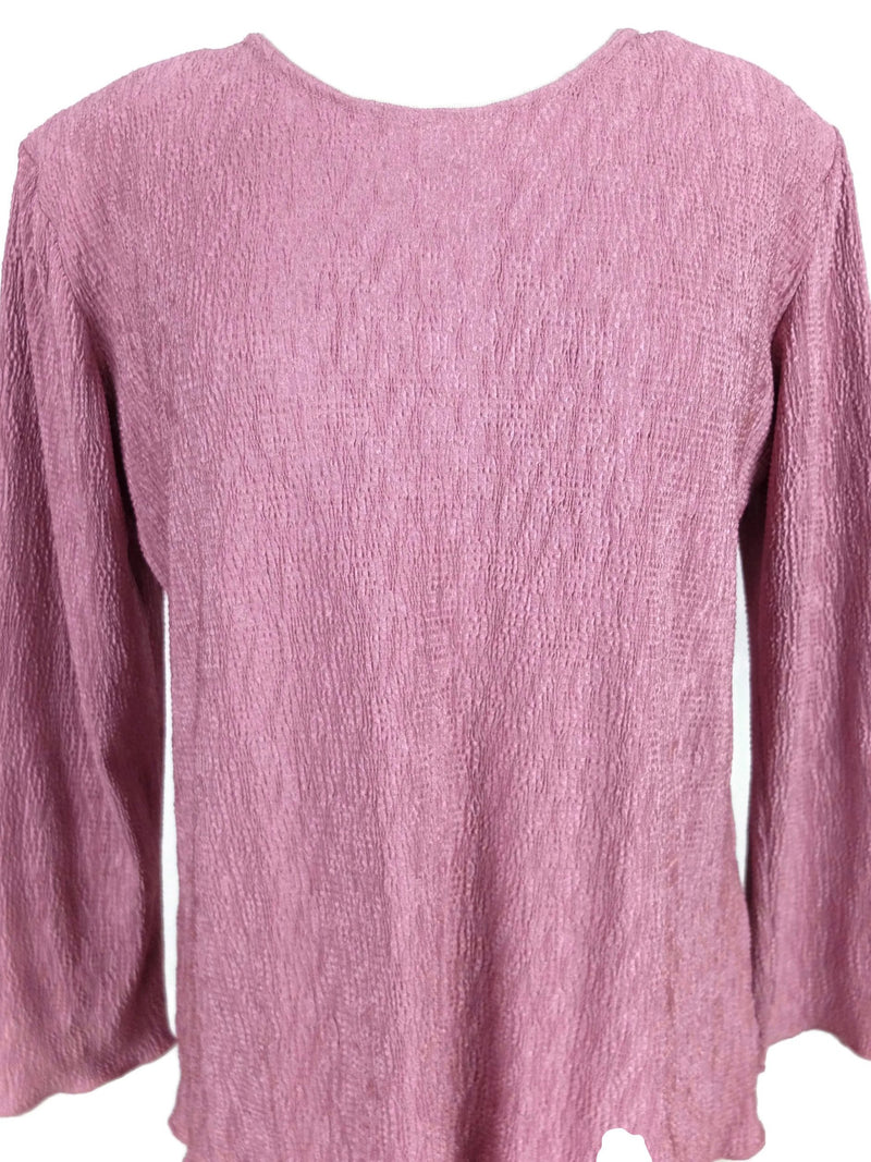 Vintage 80s Dusty Pink Ruched Textured Scoop Neck Long Sleeve Frill Blouse
