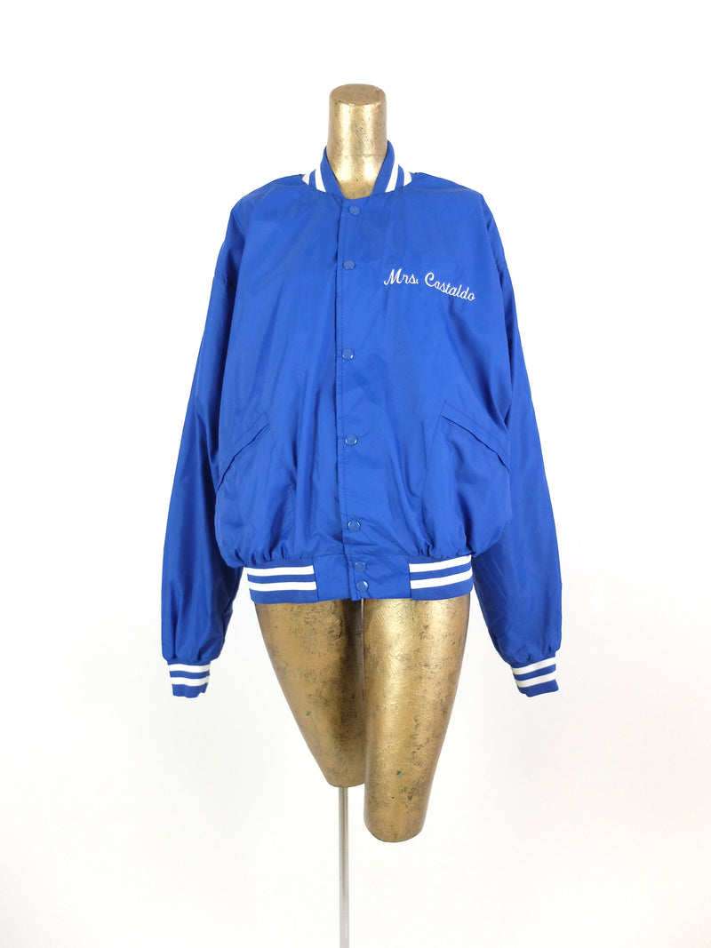 70s Royal Blue Langtree Bulldogs Athletic Bomber Baseball Windbreaker Jacket