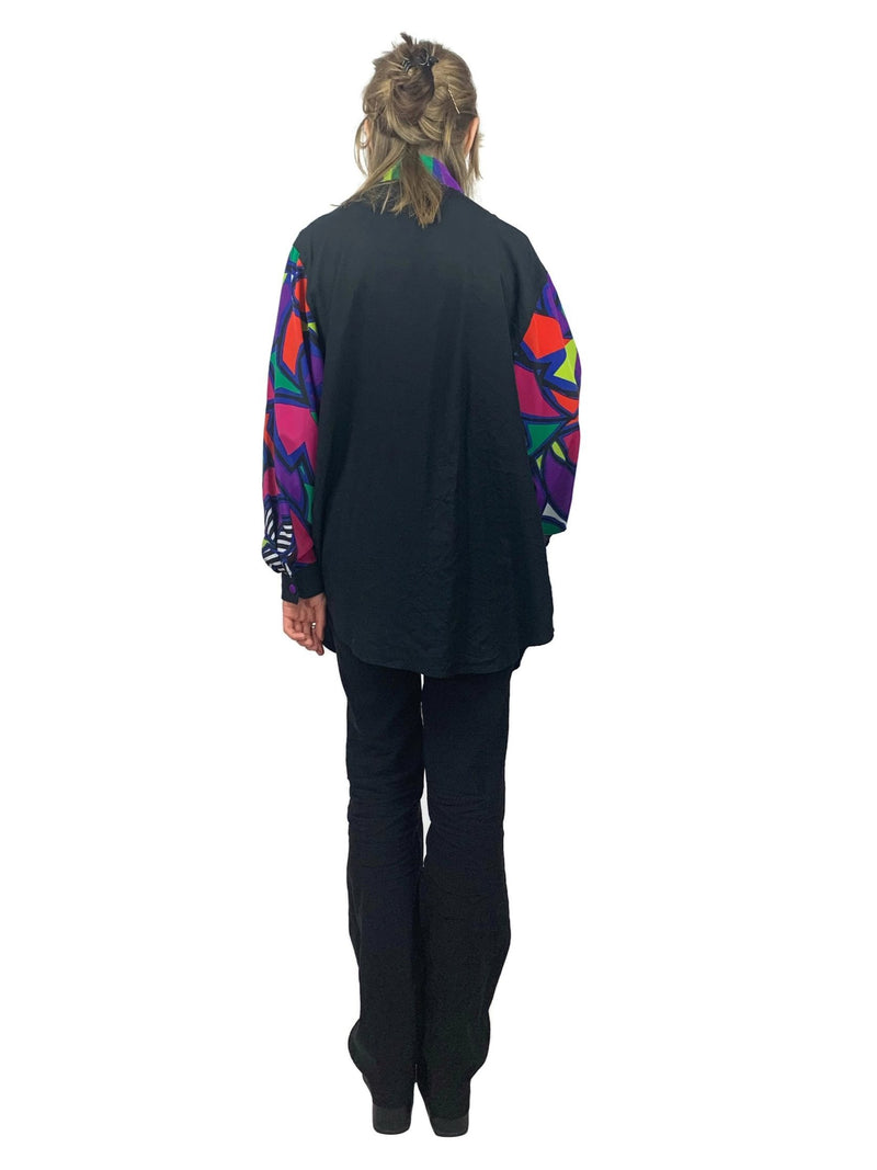 Vintage 70s Groovy Psychedelic Black and Rainbow Abstract Printed Long Sleeve Collared Button Up Panel Blouse