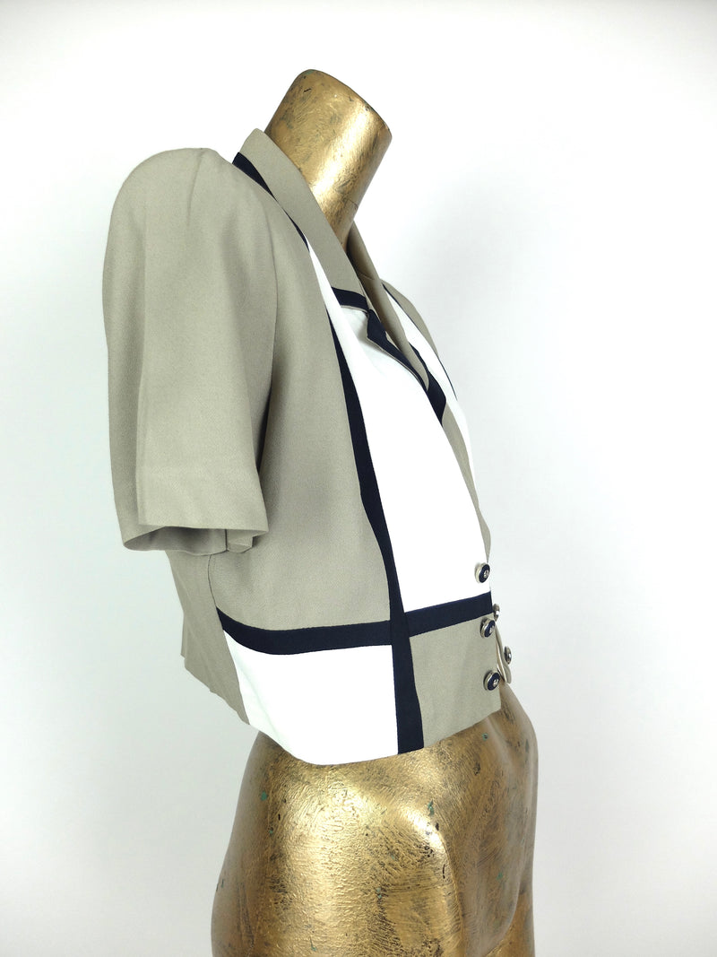 80s Mod Style Colorblocked Abstract Cropped Short Sleeve Collared Blazer Jacket Blouse
