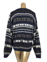 80s Rustic Bohemian Abstract Knit Pullover Sweater Jumper
