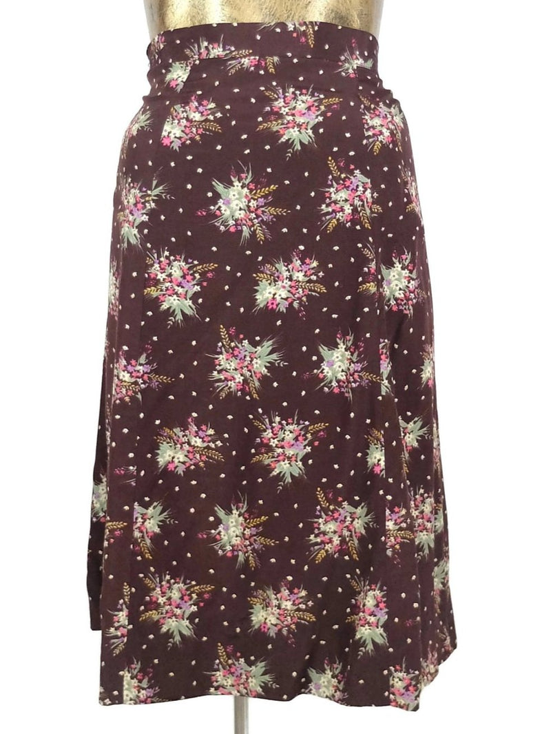 80s Prairie Style Brown Floral High Waisted Below-the-Knee Midi Skirt