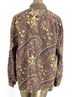 70s Mod Psychedelic Paisley Abstract Long Sleeve Mockneck Button Up Blouse