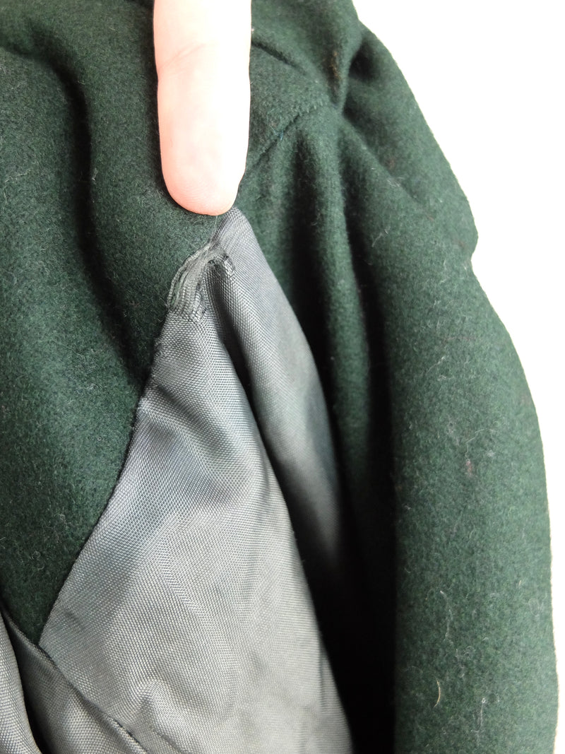 60s Pixie Forest Green German Tracht Traditional Folk Hooded Long Winter Trench Coat