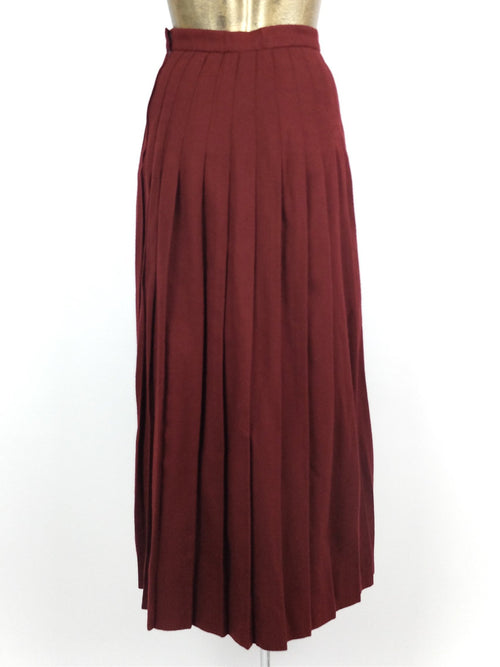 80s Wool Maroon Red High Waisted Pleated Maxi Skirt