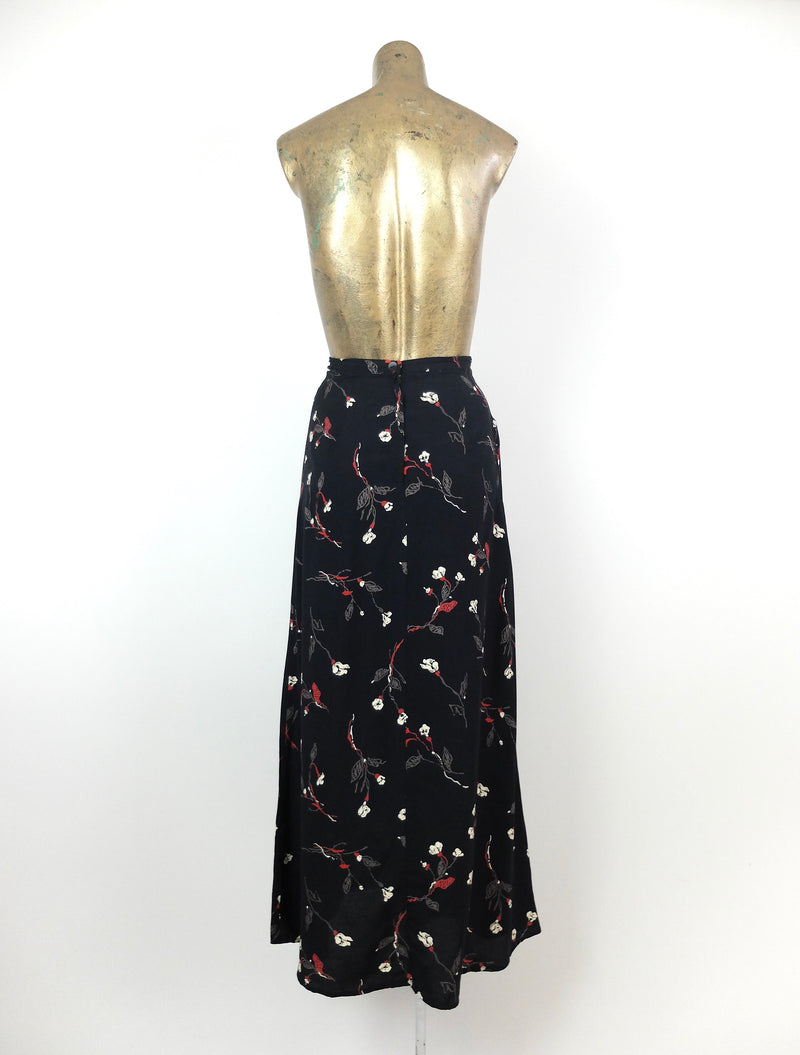 80s Bohemian Abstract Floral Black High Waisted Maxi Skirt
