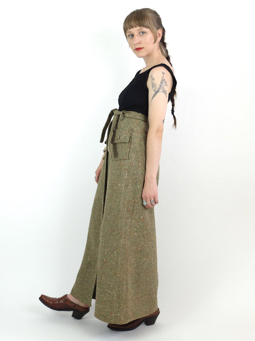 60s Mod High Waisted Button Down Wool Maxi Skirt with Belt Tie and Front Pockets