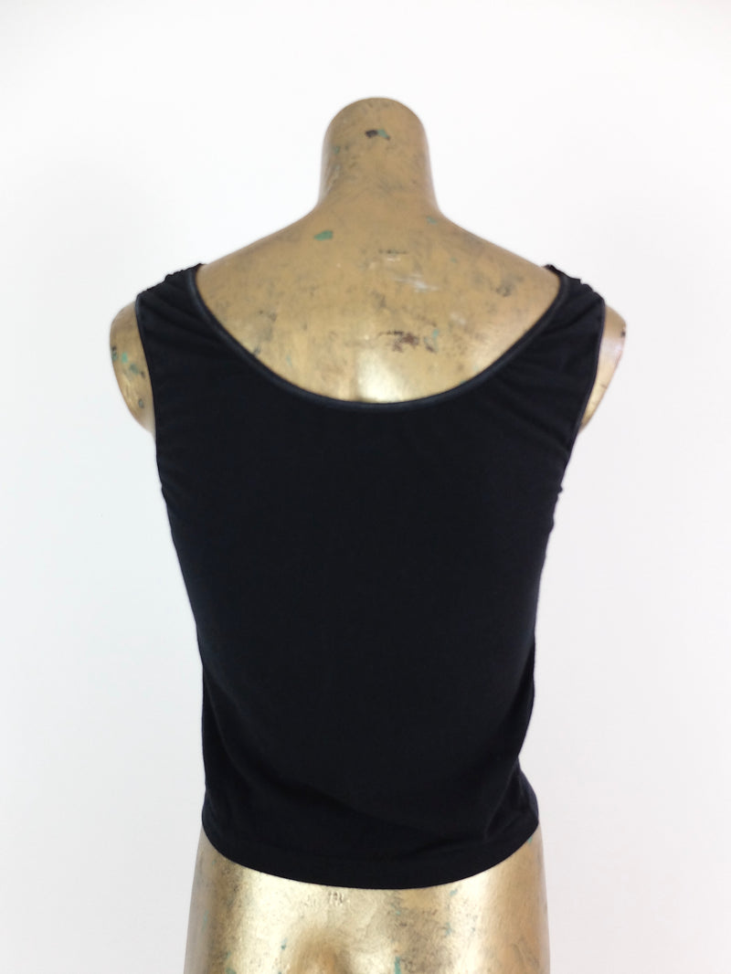 80s Black Lace Square Neck Sleeveless Tank Top Blouse