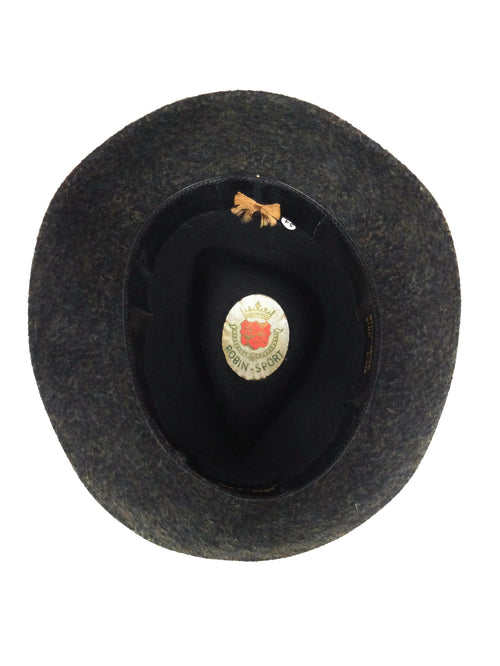 Vintage 40s Mens Robin-Sport Dark Grey Felt Wool Brimmed Fedora Hat with Fabric Trim