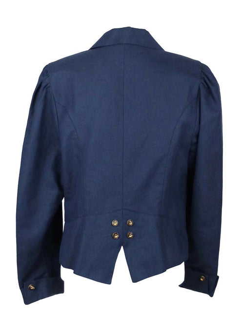 Vintage 70s Navy Blue Traditional German Puff Sleeve Blazer Jacket with Padded Shoulders