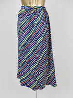 80s Rainbow Abstract Striped High Waisted Silk Midi Circle Skirt