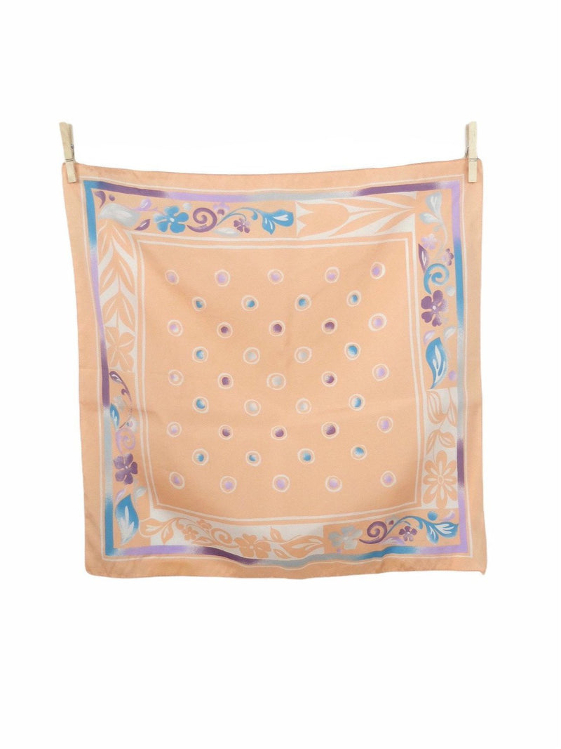 Vintage 80s Pastel Peach Mod Psychedelic Abstract Print Polyester Square Bandana Neck Tie Scarf