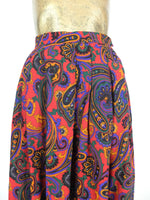 60s Mod Psychedelic Paisley High Waisted Pleated Circle Midi Skirt