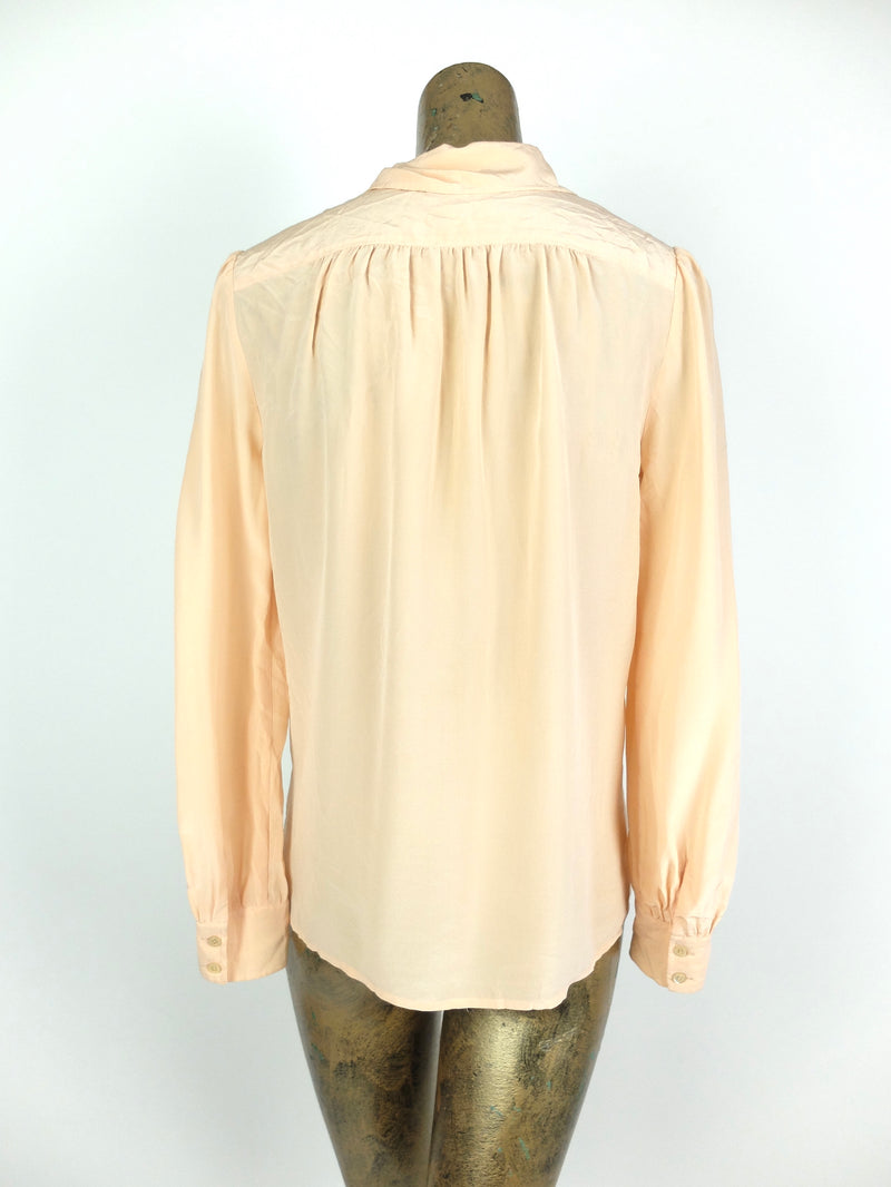 90s Silk Basic Nude Peach Collared Long Sleeve Button Up Blouse