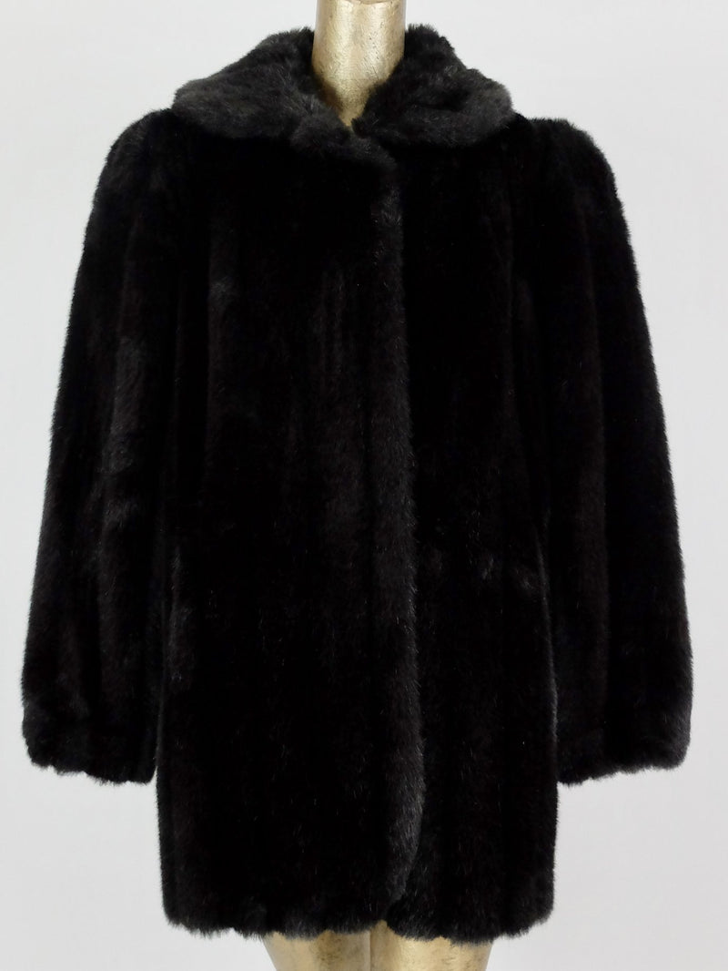 80s Jordache Black Faux Fur Winter Coat