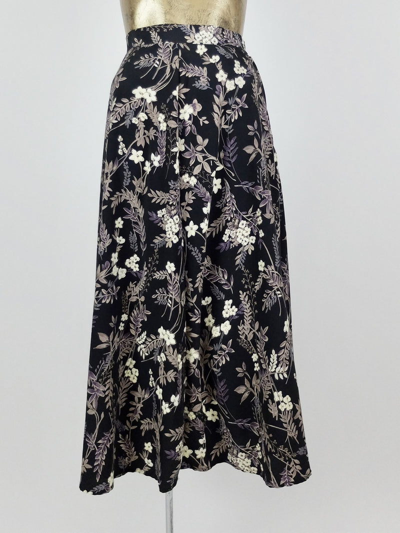 90s High Waisted Hawaiian Floral Full Circle Maxi Skirt