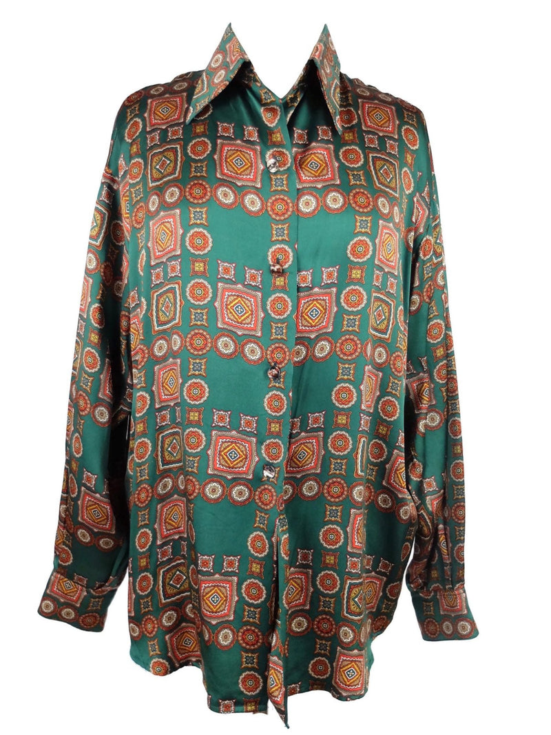 Vintage 70s Mod Psychedelic Silk Geometric Print Pointed Collar Long Sleeve Button Up Disco Shirt Blouse