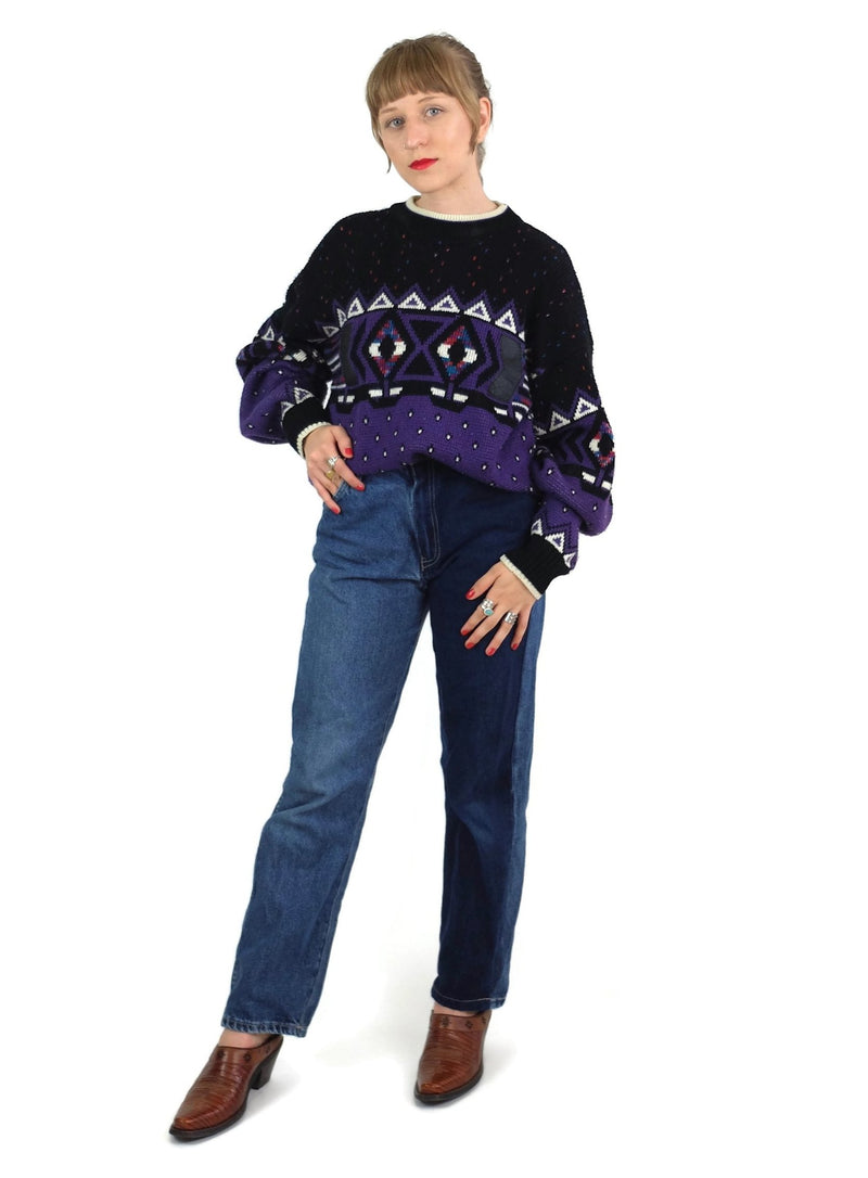 80s Abstract Geometric Pullover Sweater Jumper with Faux Leather Patches