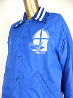 70s Athletic Bright Blue Cavaliers Snap Button Collared Baseball Windbreaker Jacket