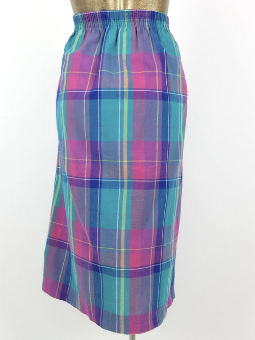80s Check Print High Waisted Button Down Midi Skirt with Pockets