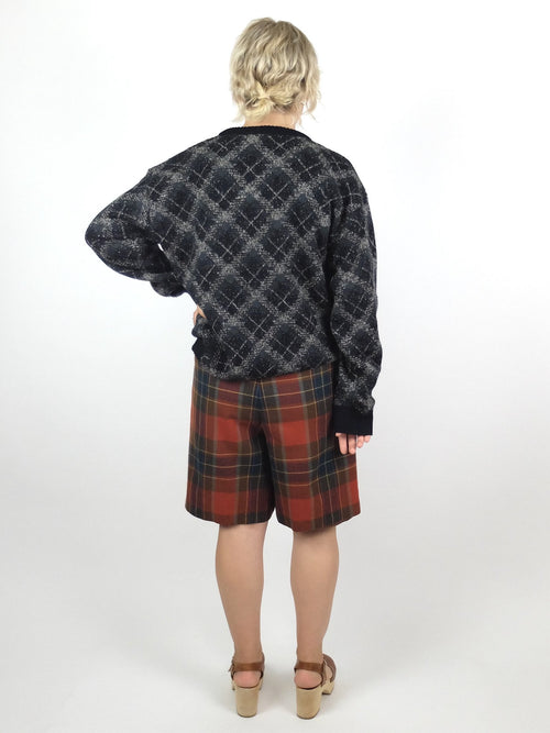 90s Bohemian Black and Grey Argyle Check Patterned Knit Pullover Crew Neck Sweater Jumper