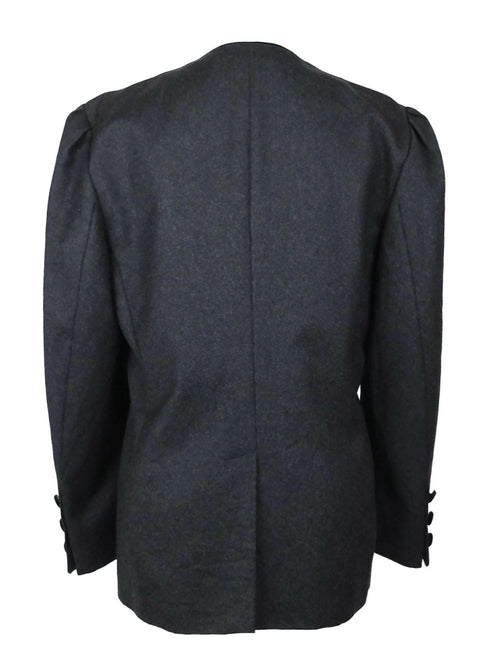 Vintage 80s Avant-Garde Grey Button Down Blazer Jacket with Black Velvet Buttons